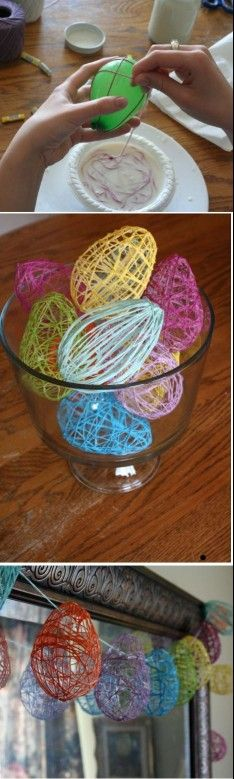 Great easy easter craft. Yarn or thin twine in a glue water wrapped around small or larger balloons