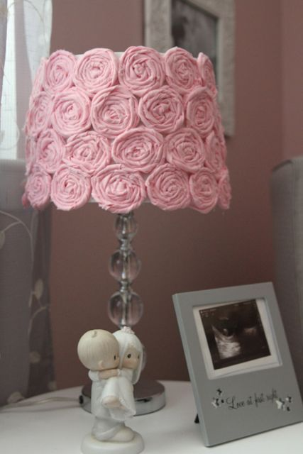 DIY Rosette Lamp - a shabby chic detail to a sweet pink and gray nursery.