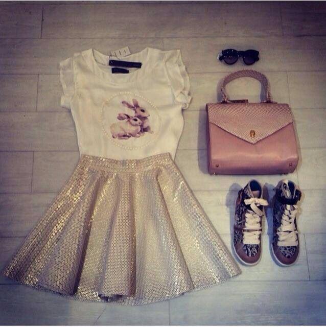 Bunnies top + gold skirt