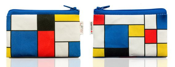 on Sale  RED BLUE YELLOW squares printed Wallet coin by efratul, $7.00
