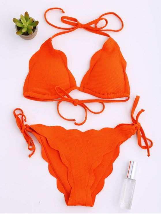 Halter Scalloped Hem String Bikini Set - ORANGE RED S