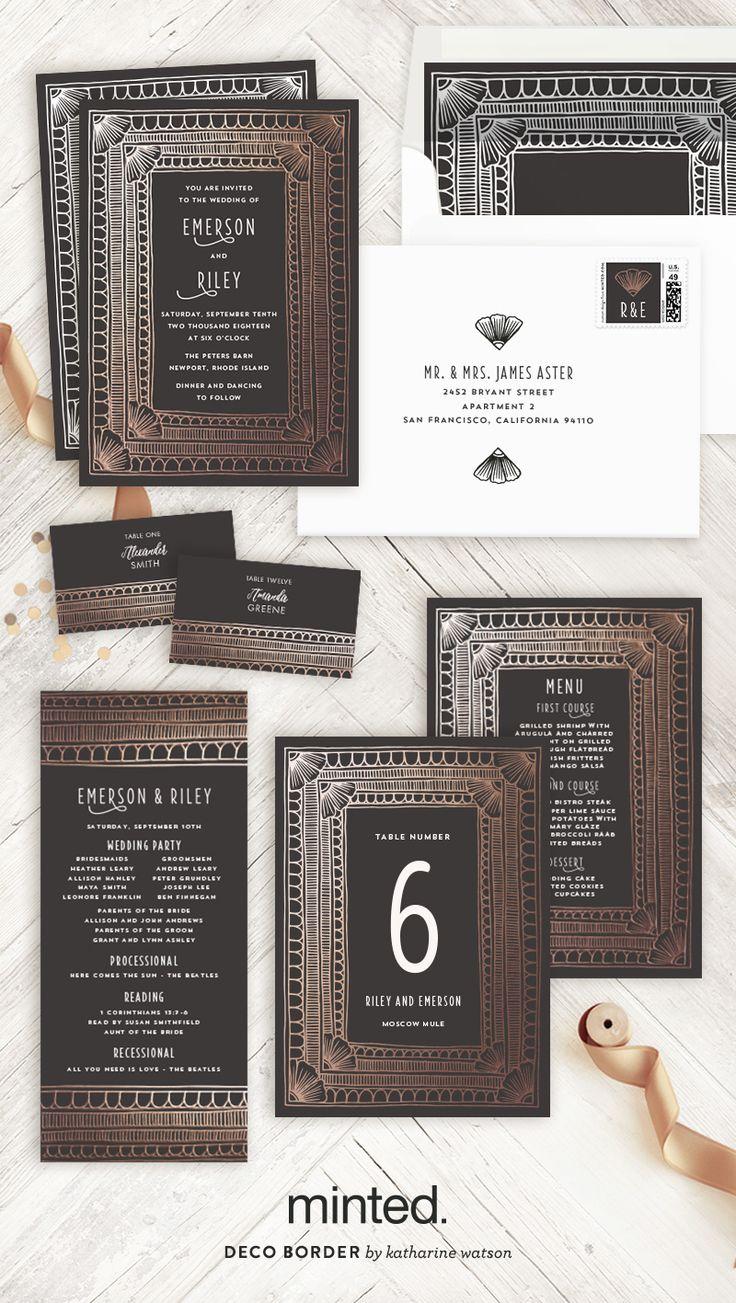 Deco Border Customizable Foil pressed Wedding Invitations