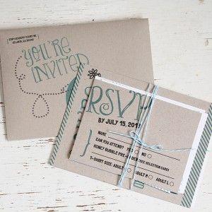 Kraft Paper Invitations by Pink Umbrella Designs #invitation #wedding