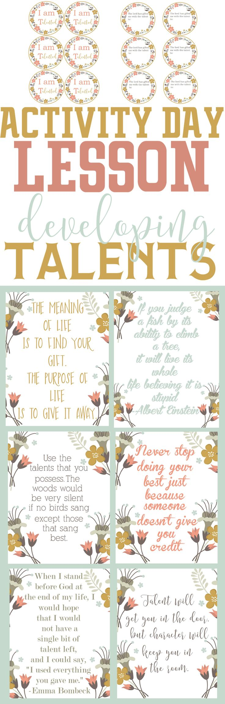 Activity Day lesson-Developing Talents and 6 printable quotes