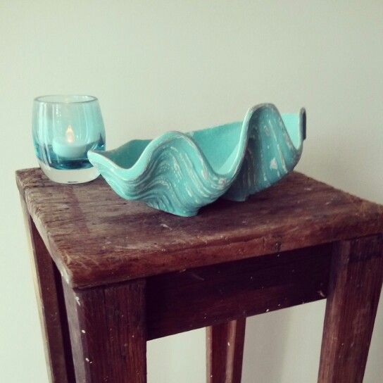Upcycled clam shell decor from daggy ceramic to display worthy decor