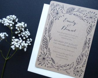 Fern Wedding Invitation   botanical wreath leaf fresh