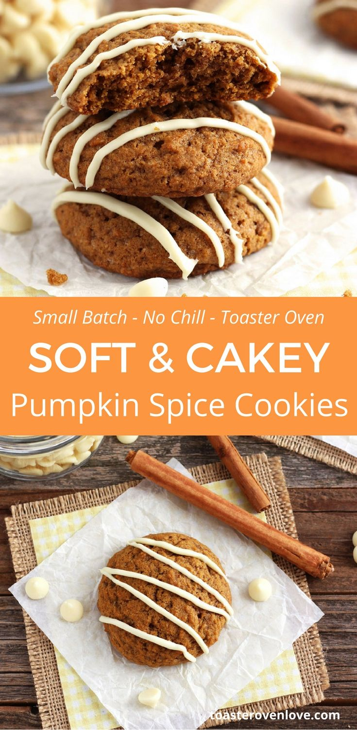 Small Batch Pumpkin Spice Cookies are perfect for using up leftover canned pumpkin! toaster oven | cookies | whole grain | baking | dessert | pumpkin | cooking for two