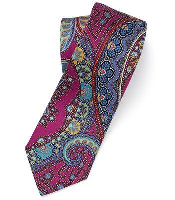 Paul Stuart - Printed Silk Over-Sized Paisley Tie
