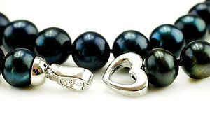 The best Christmas gift ever!  Black pearl necklace with beautiful heart clasp!  Freshwater Cultured Black Pearl Necklace 18 inch, 11-12mm, Heart Clasp  www.apassionforpearls.com