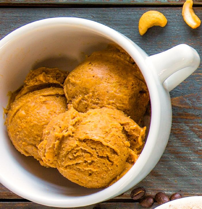 Pumpkin Spice Latte Ice Cream Recipe - dairy-free, gluten-free, vegan, paleo healthy nice cream!
