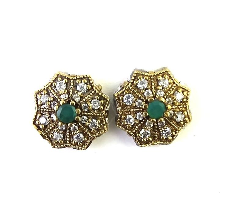 TURKISH OTTOMAN STERLING SILVER 925 LAB CREATED EMERALD EARRING STUD  TOPS  #Unbranded #Stud