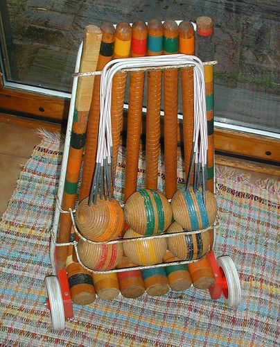 Vintage 1940's South Bend Toys Croquet Set with wheeled Cart. Antique  I played this with my cousins.   I played with a set of these with my cousins at my grandparents farm in the 1960's.  Brenda