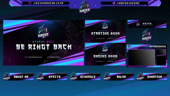 I Will Design Profession Twitch Overlay Template And Stream Pack In 2020 Video Streaming Streaming Overlays