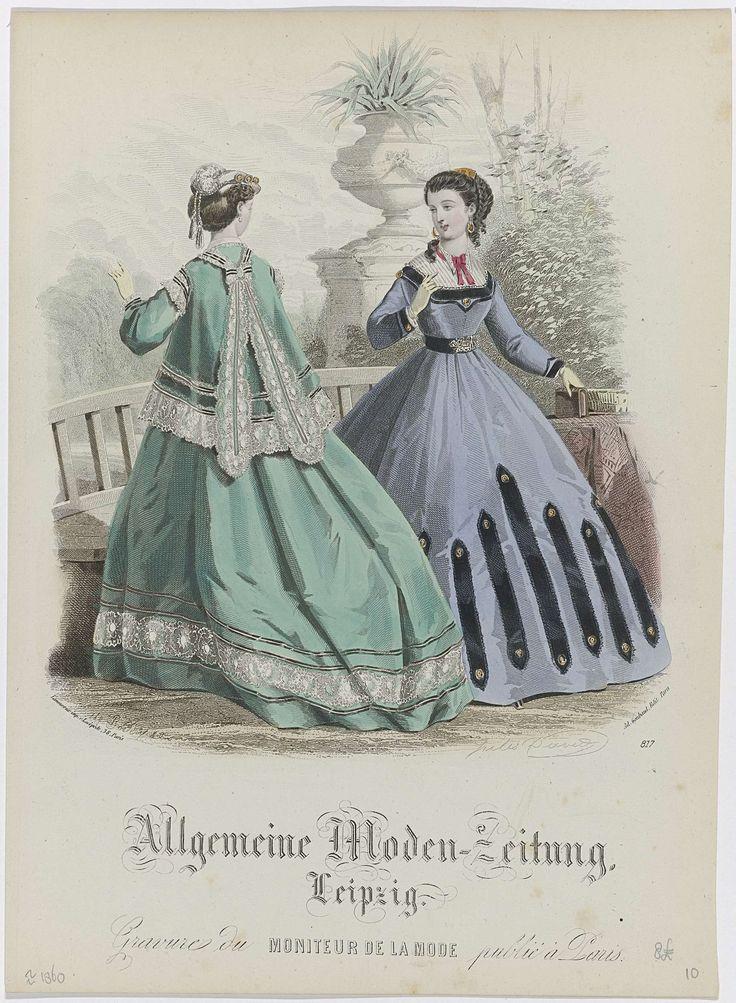 A. Bodin   An Explosion of Fashion Magazines, A. Bodin, Ad. Goubaud et Fils, Lamoureux, 1866   Vrouw, op de rug gezien, in een jasje op een wijde rok. Hoedje versierd met veer en koord met twee kwasten. Naast haar een vrouw in japon met vierkante halsuitsnijding en wijde (crinoline)rok.  Accessoires: haarkam, oorbellen, korte handschoenen, ceintuur(?). Volgens het onderschrift is de gravure uit 'Moniteur de la Mode' gepubliceerd in Parijs.
