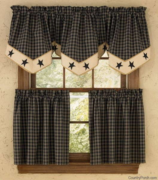 Sturbridge Star Lined Single Point Curtain Valance Country Kitchen