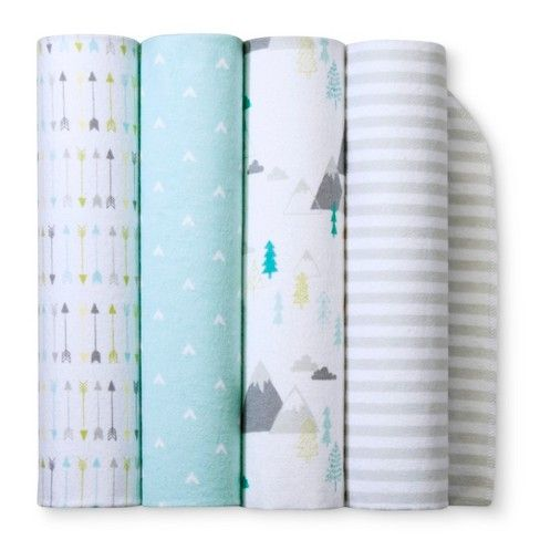Whether it's taking a walk in their stroller or going for a ride in their car seat, baby will be ready for adventures with the Light Blue Adventure Awaits Flannel Baby Blankets from Cloud Island™. With four patterns to choose from —multicolored arrows, white V's on a light blue background, gray mountains with teal trees, or gray and white stripes — you have options for blankies to take on the go or keep in baby's room. Baby can be wrapped up ...