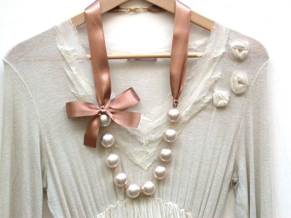 Carrie Bradshaw Inspired Giant Vintage Cream Pearls Long Necklace In Mocha Brown Satin Ribbon via Etsy