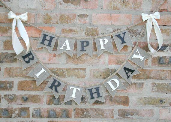 Happy Birthday Banner burlap happy birthday by FriendlyEvents