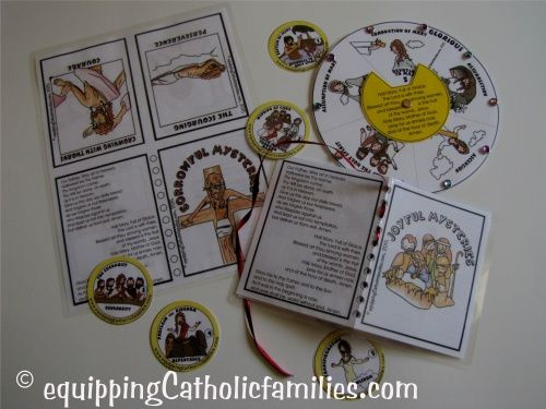 Family Rosary for Lent, new Mysteries of the Rosary Craft Kit includes 6 different templates, illustrating all 20 Mysteries of the Rosary with Kelly Saints!