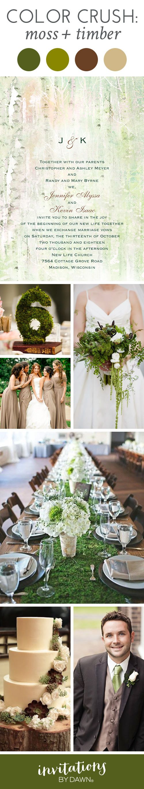 Wedding Color Inspiration: Moss + Timber. Enchanting, charming and oh-so-romantic. #weddinginspiration