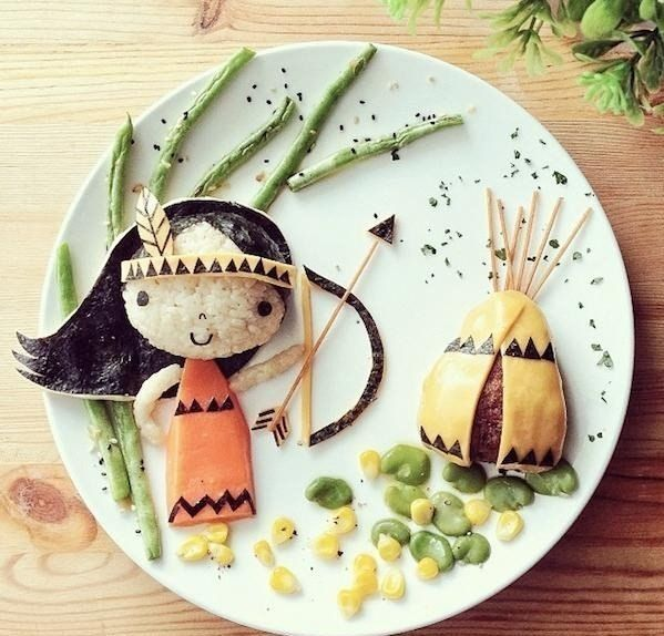 cool design food. Little indian girl with an arrow and bow by a teepee