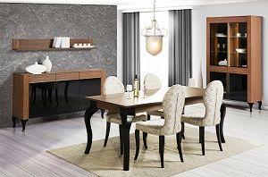 SZYNAKA Alcamo Польша  Польская мебель ALCAMO SZYNAKA – cоединение элегантности и функциональности. Корпус изготавливается из плиты, ламинированной натуральным шпоном дуба и лакированной в светлый орех, фасад – массив дуба, лакированный в светлый орех + стекло черное. Рифленные вставки, декоративные основания, фасады с черным стеклом придают интерьеру современный характер с элементами классики. Использование освещения подчеркивает уникальную форму мебели.