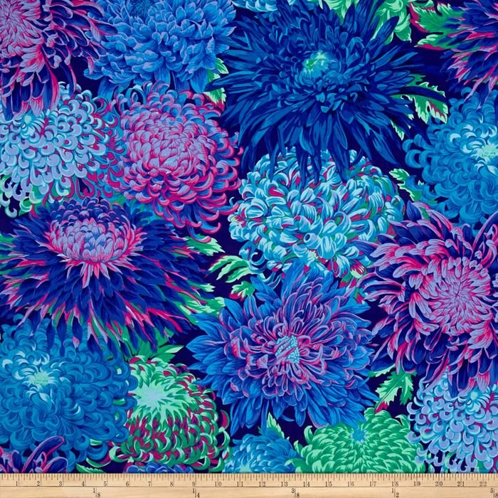 Kaffe Fassett Collective Japanese Chrysanthemum Blue from @fabricdotcom  Designed by Kaffe Fassett for Westminster/Rowan Fabrics, this cotton print is perfect for quilting, apparel and home decor accents. Colors include shades of blue, shades of green, shades of pink and shades of purple.