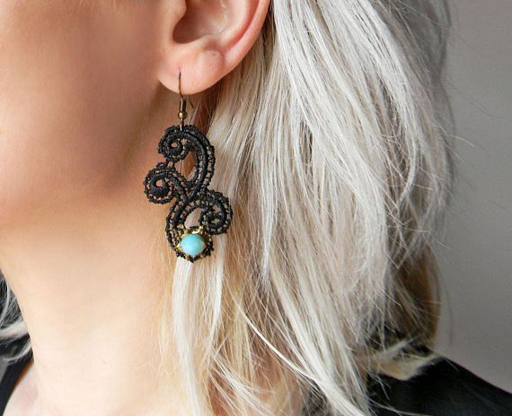 Black embroidered lace earrings with Blue Turquoise faceted