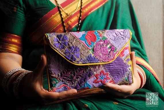 Authentic Patchwork Purple Clutch Bag by FolkRoute on Etsy
