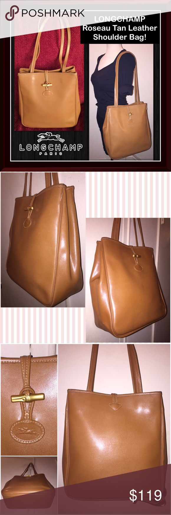 "LONGCHAMP Roseau Tan Leather Shoulder Bag! Longchamp Roseau Tan Leather Shoulder Bag! 100% authentic, front LONGCHAMP logo patch,  leather lining, dual shoulder strap, expandable side snaps, signature gold-tone bamboo toggle closure, LONGCHAMP zip pull & one large interior zipper pocket. Measures 12"" high x 10 1/2"" across x 4 1/2"" wide with 12 1/2"" shoulder/arm clearance. Some strap wear which is not noticeable when worn. No tears, offensive odors or damage. Good condition. Offers welcome…"