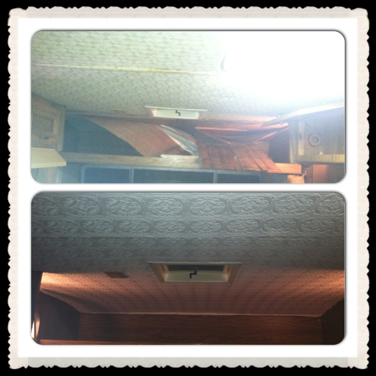 Before and after ceilings :) timberline trailer remodel/ glamper