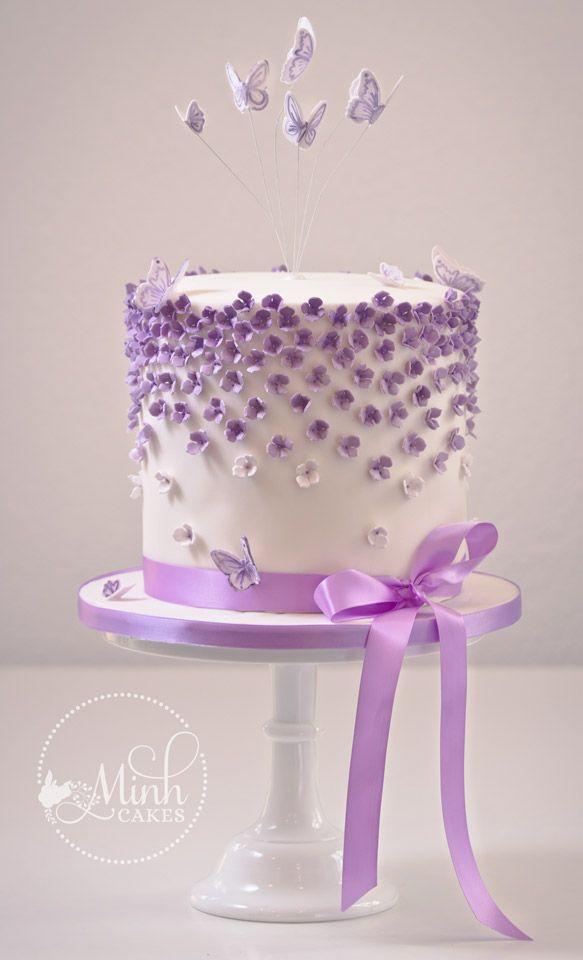 gâteau mini fleurs violettes (Cake Decorating With Fondant)