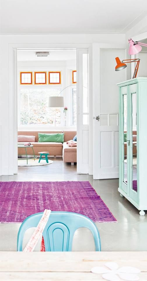 White living space with pops of color