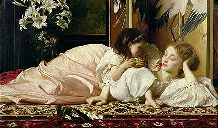 Title: Mother and Child (Cherries), c.1865 Artist: Lord Frederick Leighton Medium: Canvas Art Print - Giclee