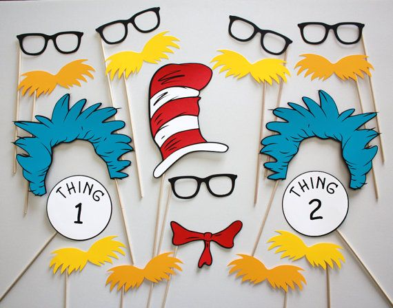 Dr. Seuss Makes Reading Fun Photo Booth Party Props - 19 Piece Set