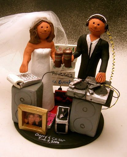 DJ groom and Accountant Bride Wedding Cake Topper      Wedding Cake Topper for a DJ, custom created for you! Perfect for the marriage of a Disc Jockey Groom and his Bride!    $235   #magicmud   1 800 231 9814   www.magicmud.com