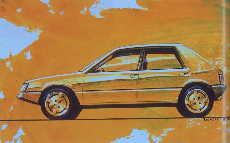 OG | 1982 Peugeot 205 - Project M24 | Design sketch by Jacques Blondel dated Nov. 1979