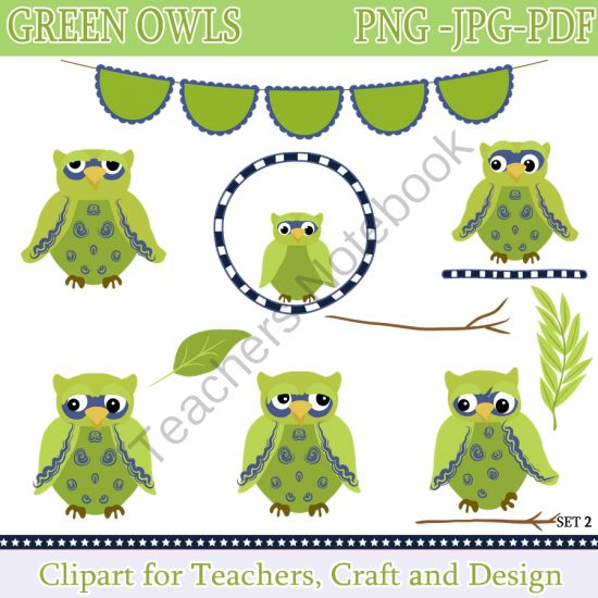 Green Owl Clipart / Owl Clip Art Digital Clipart. Instant Download from Digital PaperCraft on TeachersNotebook.com -  (14 pages)  - Green Owl Clipart / Owl Clip Art Digital Clipart. Instant Download
