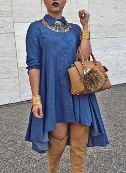 Stylish Shirt Collar Long Sleeve Women's High-Low Denim Dress