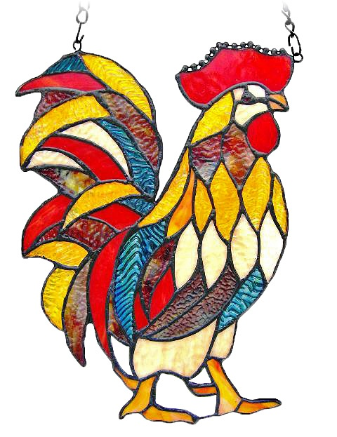 TiffanyHomeDecor.com - This Red Rooster Stained Glass Panel will crow its way into your home $49.95 (http://www.tiffanyhomedecor.com/red-rooster-stained-glass-panel/)