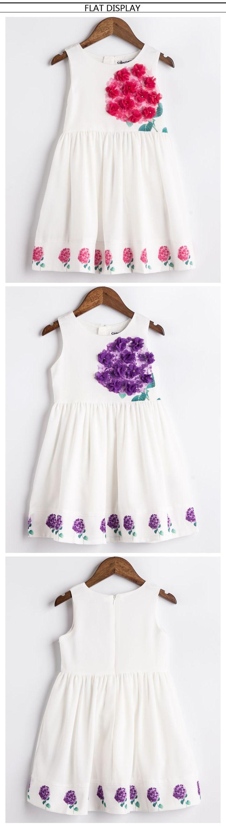 Платья лето 2016 маленькие девочки аппликации платья дети ну вечеринку платье для девочки твердого одежда девушки день рождения купить на AliExpress