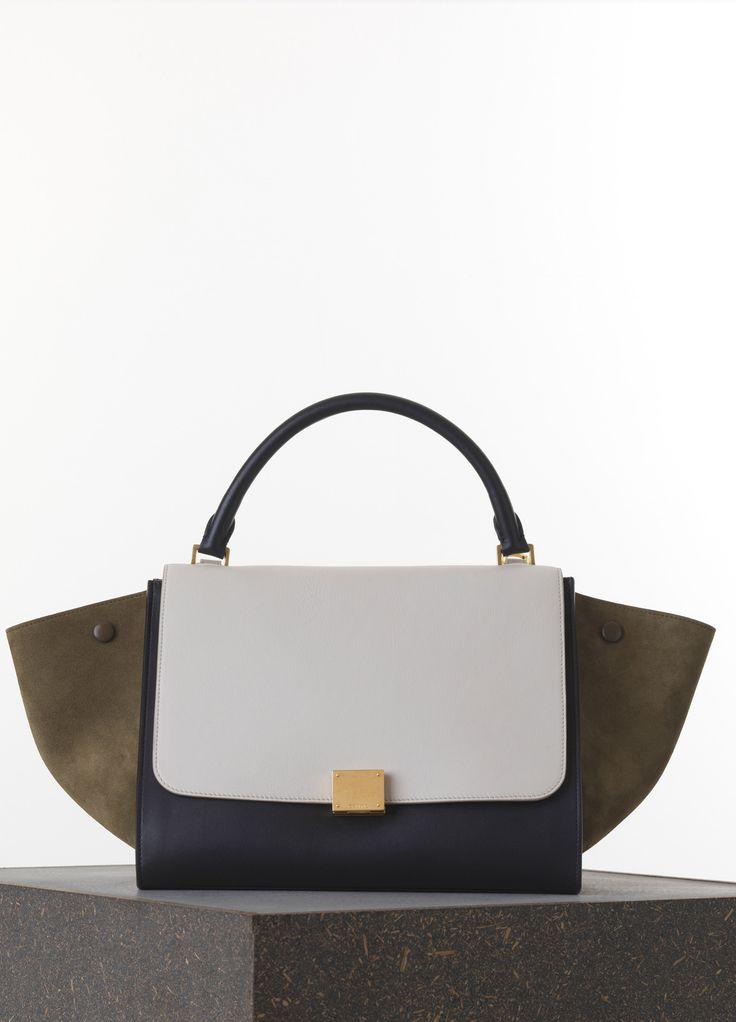 Medium Trapeze Handbag in Khaki Multicolor Smooth Lambskin ...