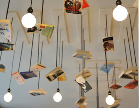 sustainable design, green design, bookstore, recycled books, old books, recycled materials, green interior design, interiors, McNally Jackson Books