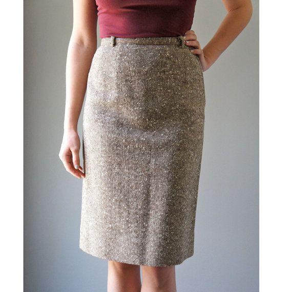 Vintage Tweed Skirt | 1950s Brown and Cream Wool Pencil Skirt ...