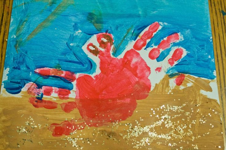 crab handprint painting-for nana & papa's beach house!