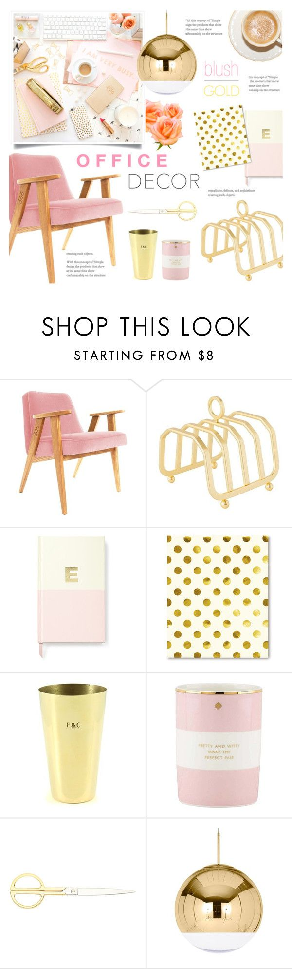 """""""Blush and Gold Office Decor"""" by alexandrazeres on Polyvore featuring interior, interiors, interior design, home, home decor, interior decorating, Sugar Paper, Kate Spade, Fine & Candy and HAY"""
