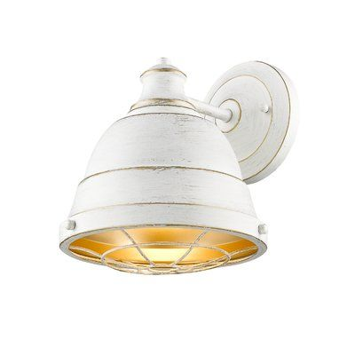 Bartlett french white one light wall sconce with french white shade golden lighting specia