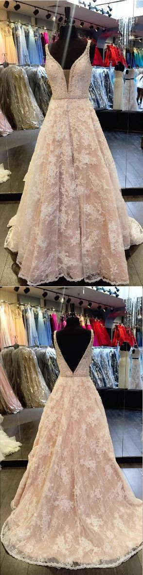 Pink A Line Sweep Train Deep V Neck Open Back Floral Beading Prom Dress,Party Dress P134  #WeddingGowns, #CheapWeddingDress, #BeachWeddingDress, #FormalDress, Bridesmaid Dress, SimpleWeddingDress