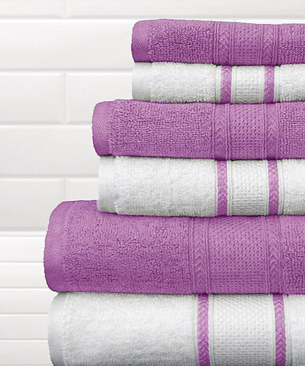 Look at this Lavender & White Quick-Dry Bath Towel Set on ...