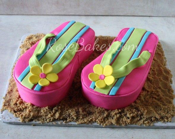 Pink Flip Flops Cake and Flip Flops Cookies | http://rosebakes.com/pink-flip-flops-cake-flip-flops-cookies/
